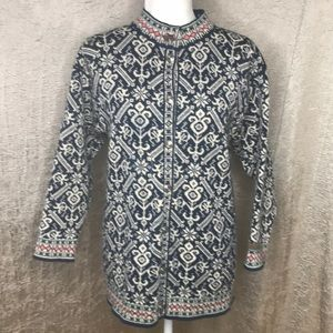Dale of Norway Blue Cream Wool Patterned Cardigan